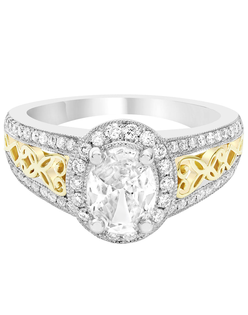 14K White with Yellow Gold and Diamond Engagement Ring