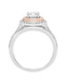 14K White with Rose Gold and Double Halo Diamond Split Shank Engagement Ring