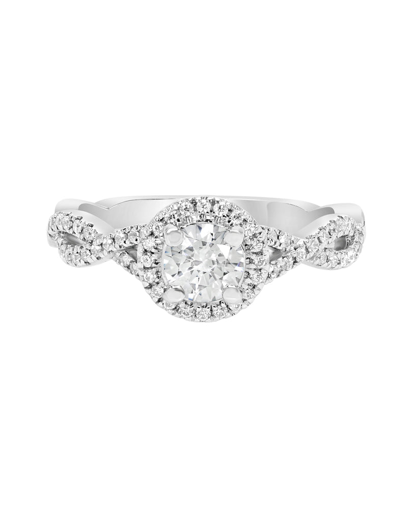 14K White Gold and Halo Diamond Tesori Infinity Engagement Ring