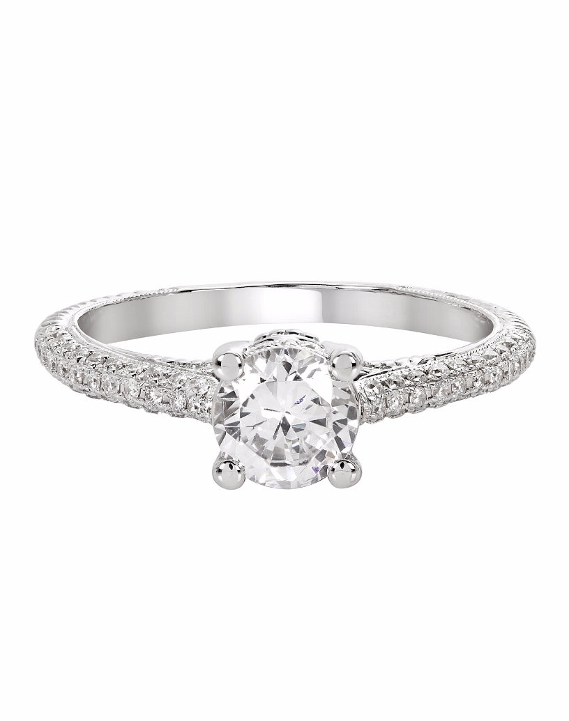 Vintage 14K White Gold and Diamond Tesori Engagement Ring