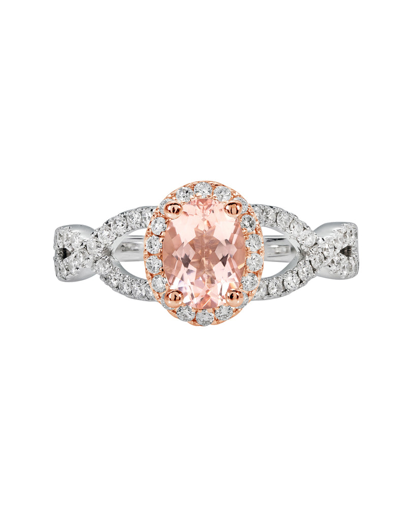 14K White with Rose Gold with Morganite and Diamond Engagement Ring