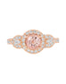 14K Rose and White Gold with Morganite and Diamond Engagement Ring