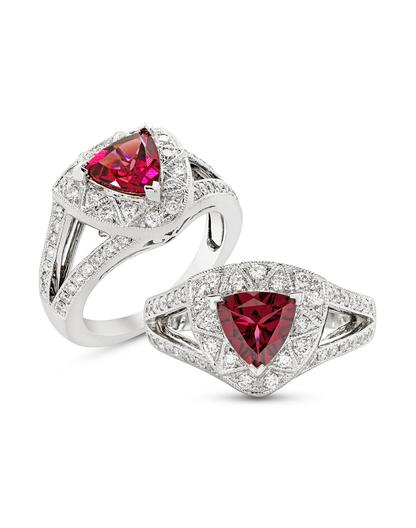 14K White Gold and Rhodolite Garnet with Diamond Ring