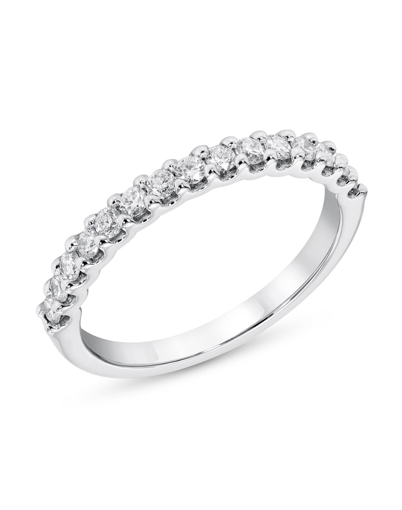 14K White Gold and Diamond U-Prong Wedding Band
