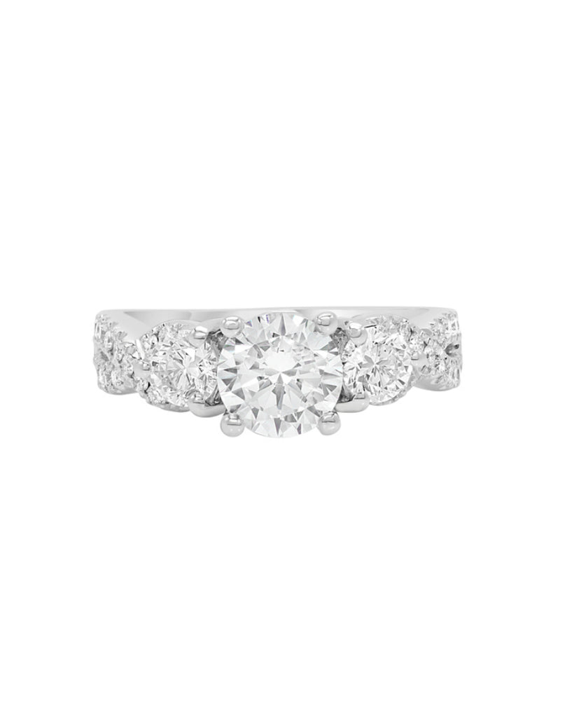 3 Stone 14K White Gold and Diamond Infinity Engagement Ring