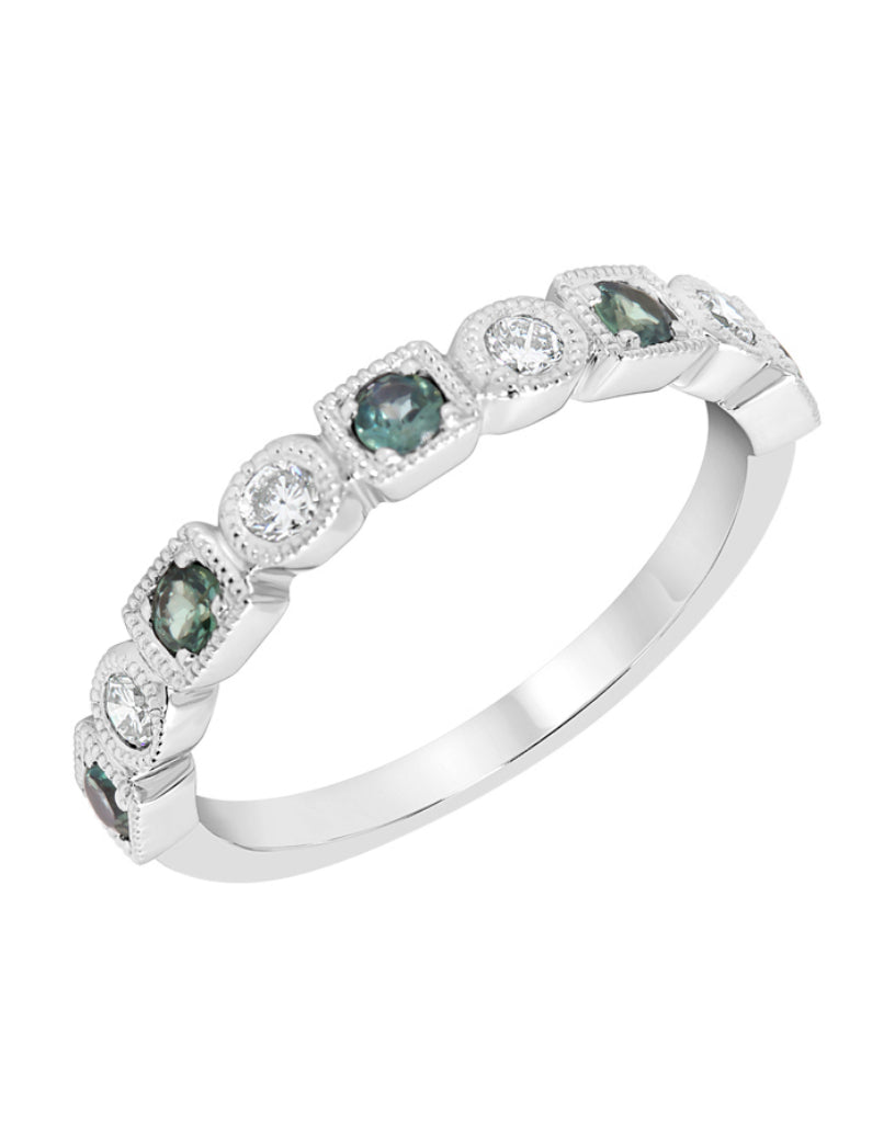 Stackable 14K White Gold and Diamond with Alexandrite Wedding Band