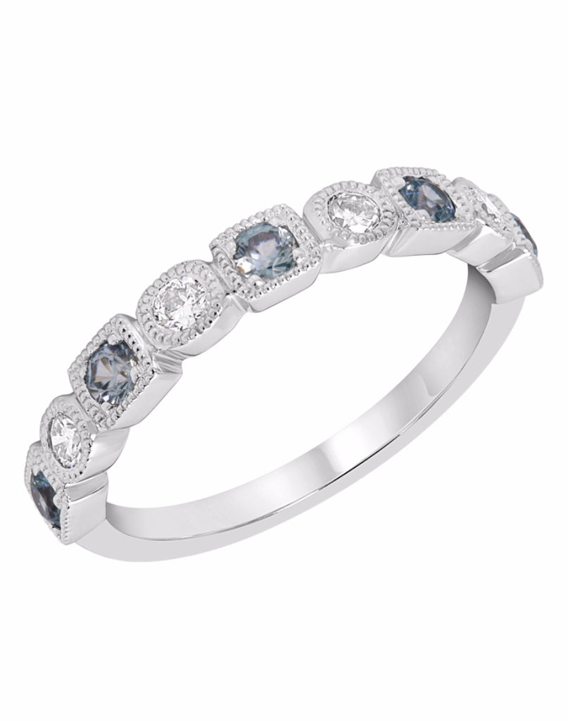 Stackable 14K White Gold and Diamond with Zircon Wedding Band
