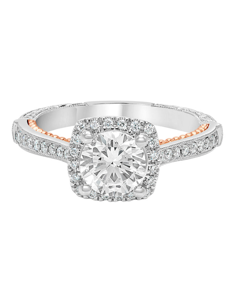 Vintage 14K White with Rose Gold and Cushion Halo Diamond Engagement Ring