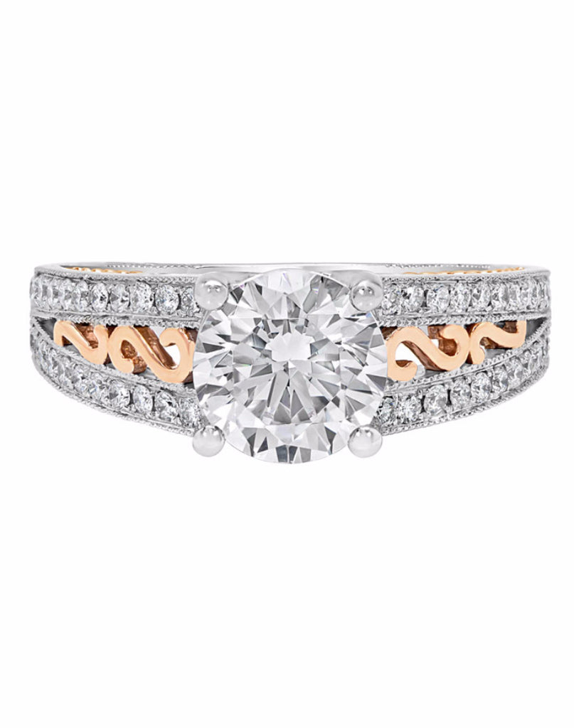 Vintage 14K White with Pink Gold and Diamond Engagement Ring