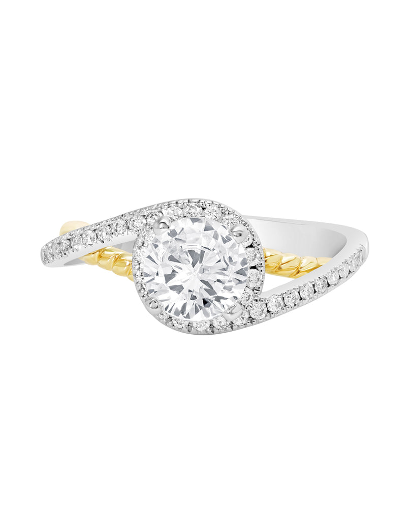 14K White with Yellow Gold and Halo Diamond Bypass Engagement Ring