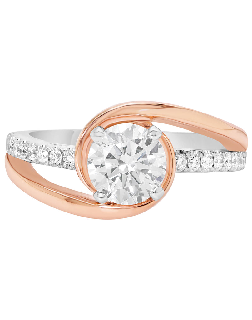 14K White with Rose Gold and Diamond Bypass Engagement Ring