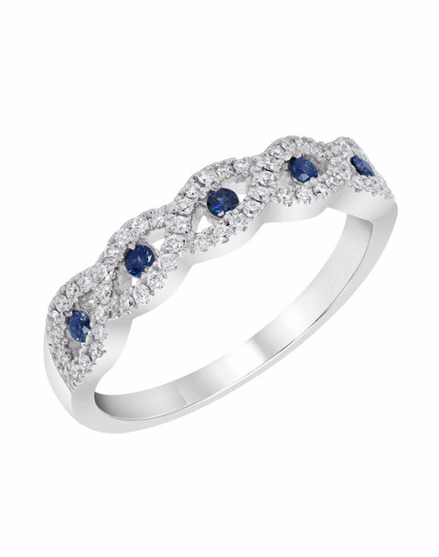 Stackable 14K White Gold and Diamond with Blue Sapphire Infinity Wedding Band