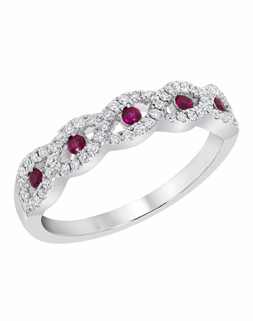 Stackable 14K White Gold and Diamond with Ruby Infinity Wedding Band
