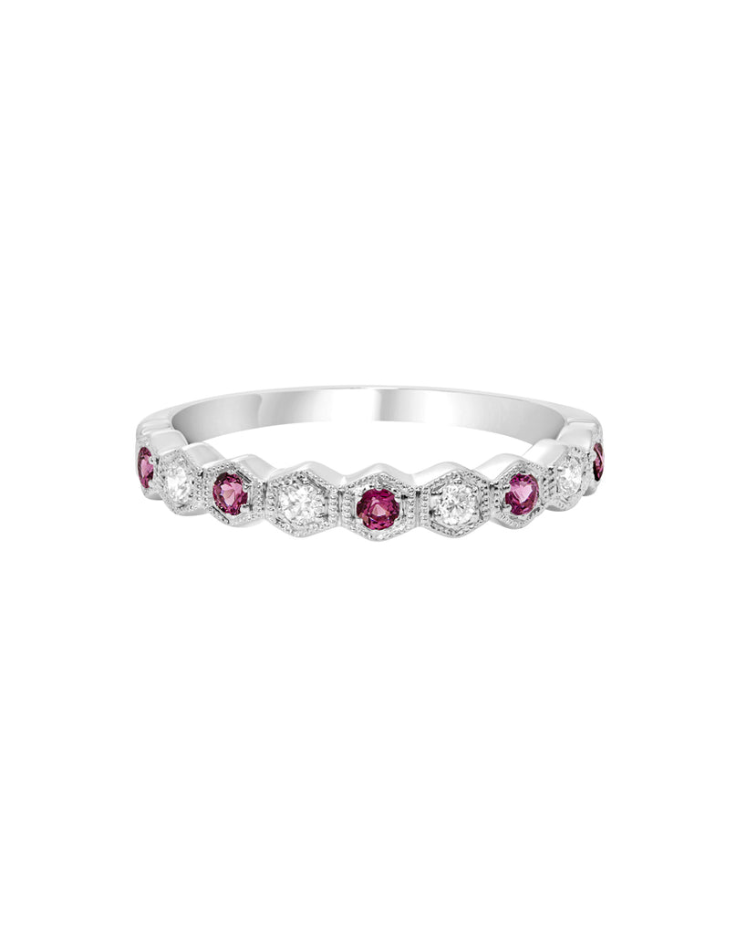Stackable 14K White Gold and Diamond with Garnet Wedding Band