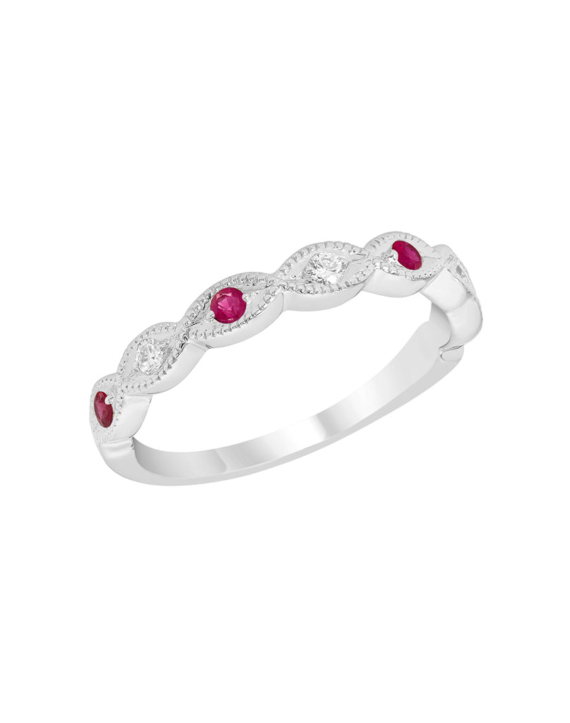 Stackable 14K White Gold and Diamond with Ruby Wedding Band