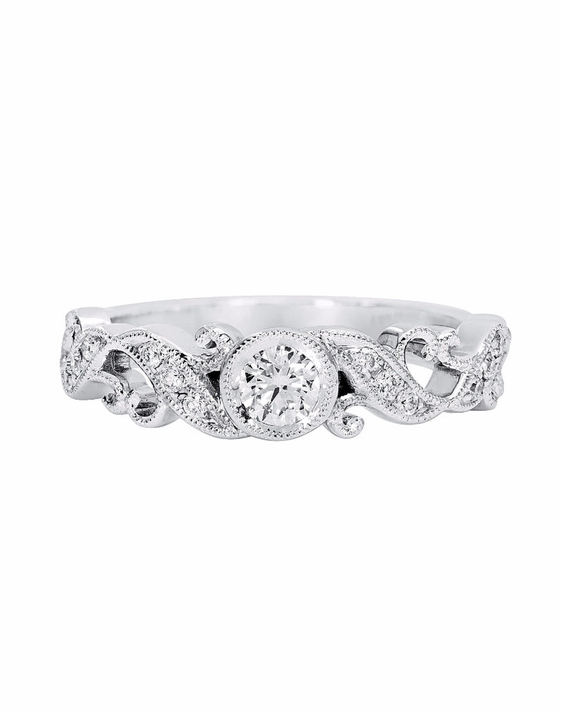 14K White Gold and Diamond Fashion Band