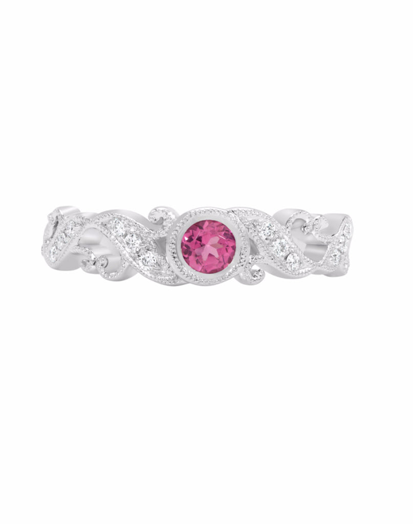 Stackable 14K White Gold and Diamond with Pink Tourmaline Wedding Band