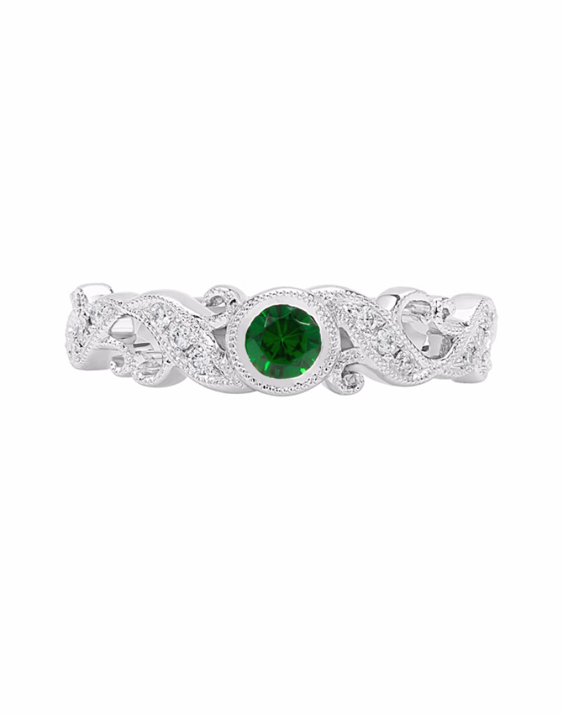 Stackable 14K White Gold and Diamond with Tsavorite Garnet Wedding Band