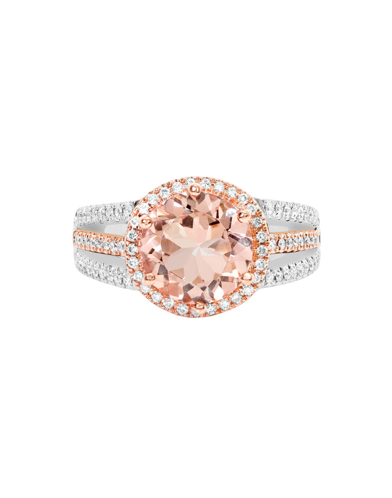 14K White with Rose Gold with Morganite and Diamond Ring