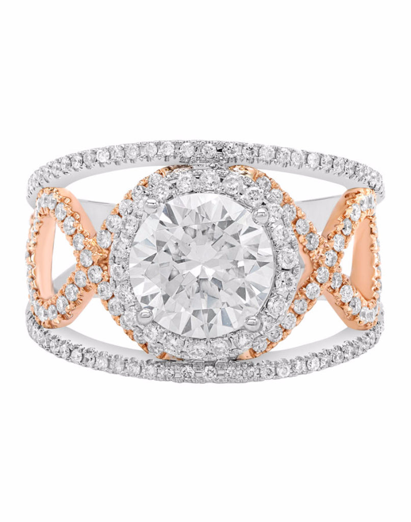 14K White with Rose Gold and Round Halo Diamond Infinity Engagement Ring