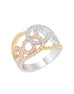 14K Yellow Gold with White and Rose Gold Diamond Fashion Band