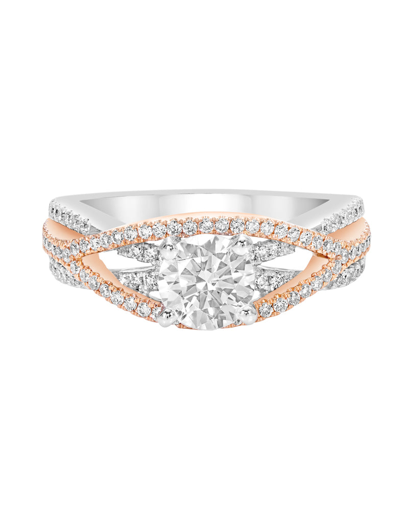 14K White with Rose Gold and Diamond Infinity Engagement Ring