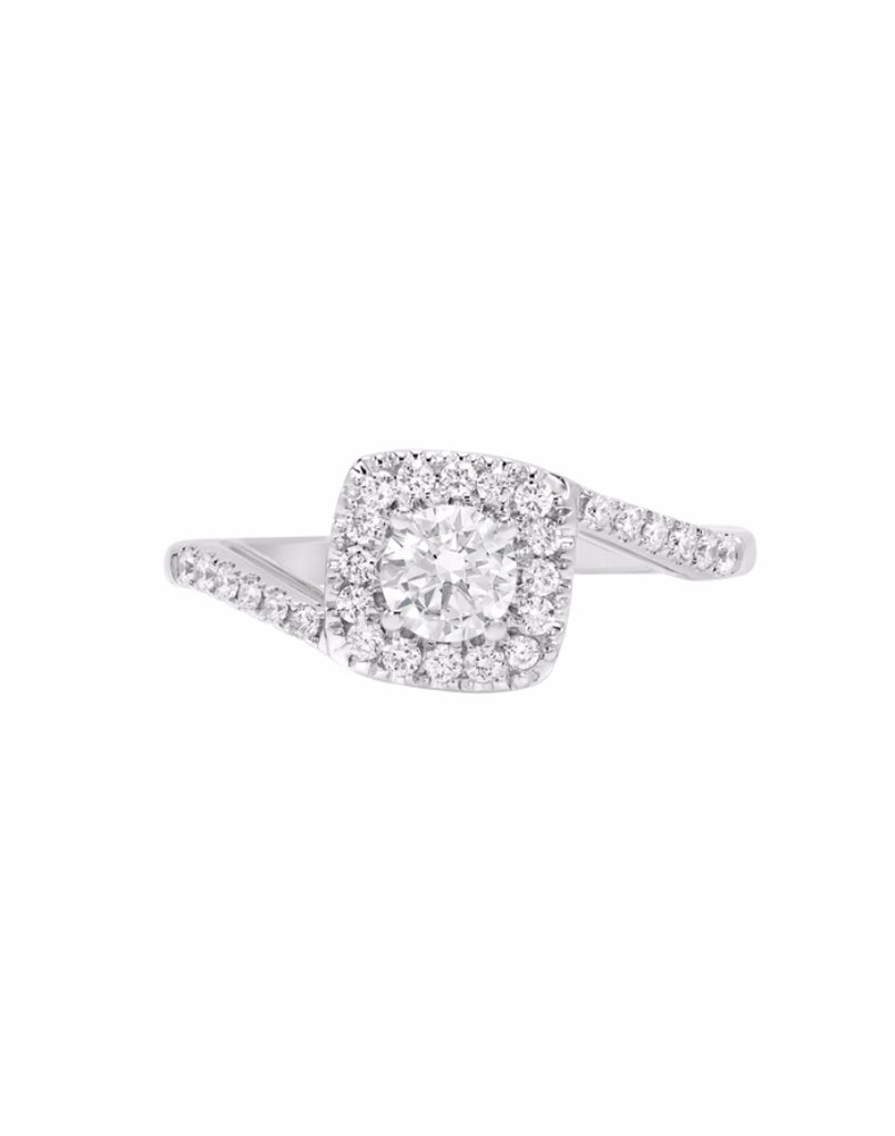 14K White Gold and Halo Diamond Tesori Bypass Engagement Ring