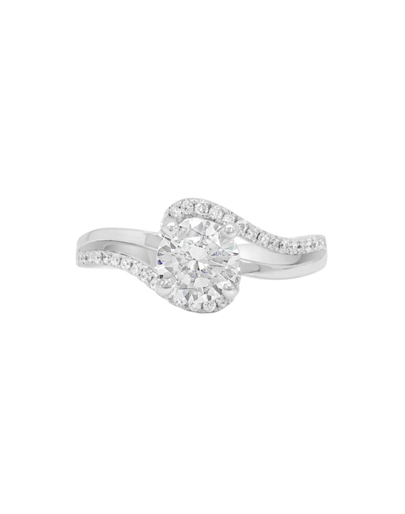 14K White Gold and Diamond Bypass Engagement Ring