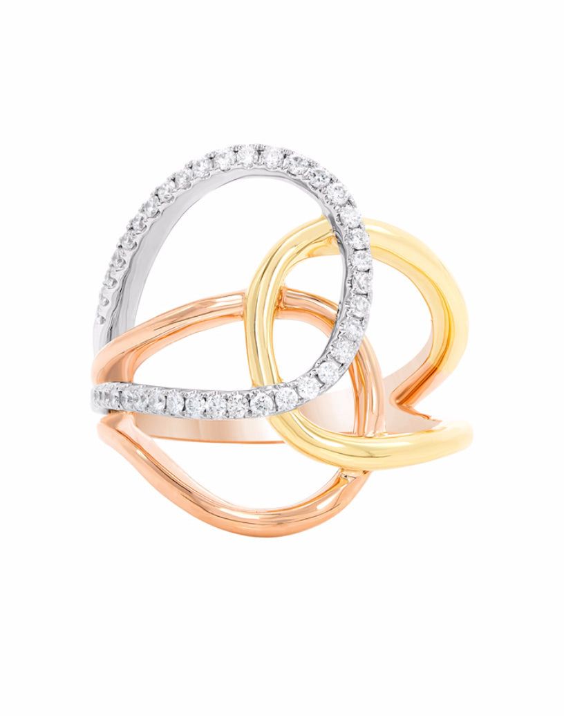 14K Rose Gold with White and Yellow Gold Diamond Fashion Band