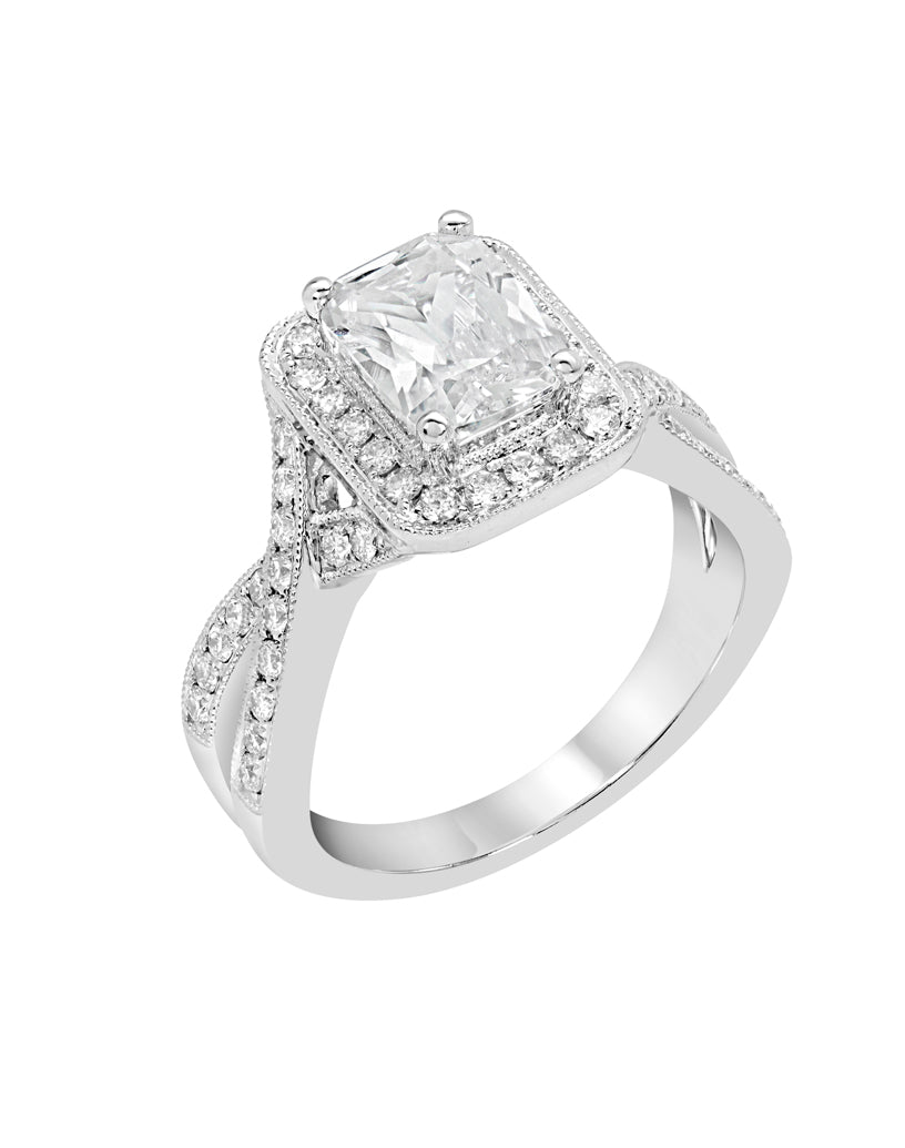 14K White Gold and Halo Diamond Infinity  Engagement Ring