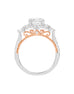 3 Stone 14K White with Rose Gold and Cushion Halo Diamond Engagement Ring
