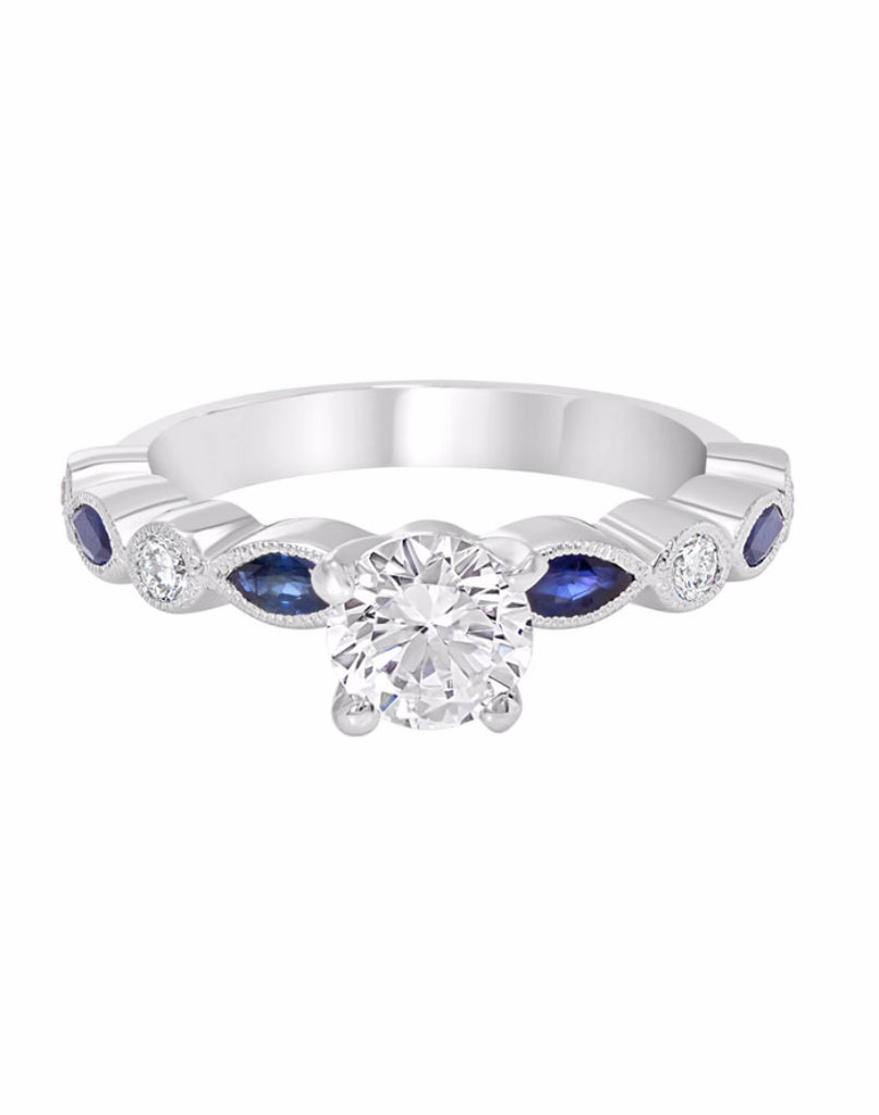 14K White Gold and Diamond with Blue Sapphire Engagement Ring