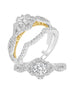14K White with Rose Gold and Halo Diamond Tesori Infinity Engagement Ring