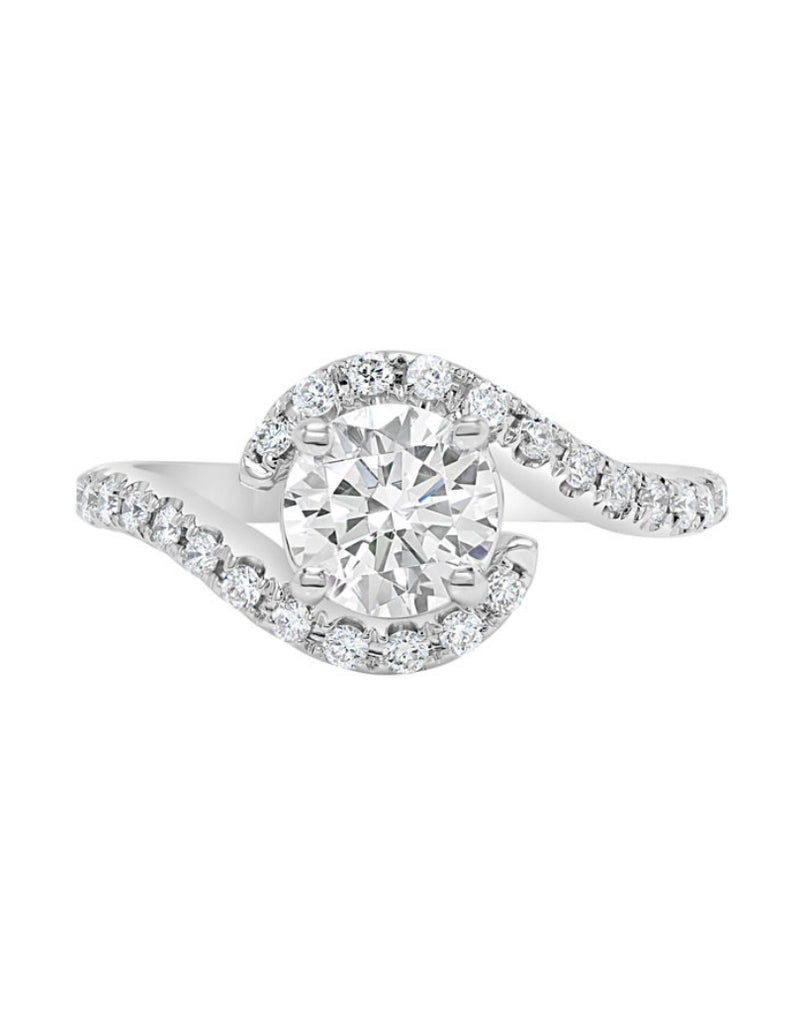 14K White Gold and Halo Diamond Bypass Engagement Ring