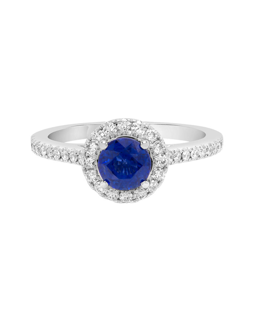 14K White Gold with Blue Sapphire and Diamond Ring