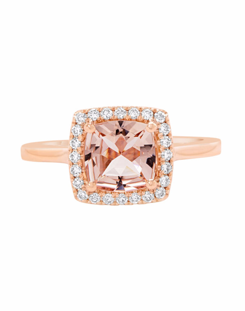 14K Rose Gold with Morganite and Diamond Engagement Ring