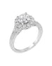 Vintage 14K White Gold and Round Halo Diamond Split Shank Engagement Ring