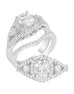 3 Stone 14K White Gold and Halo Diamond Split Shank Engagement Ring