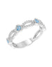 Stackable 14K White Gold and Diamond with Aquamarine Infinity Wedding Band