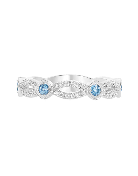 Stackable 14K White Gold and Diamond with Blue Topaz Infinity Wedding Band