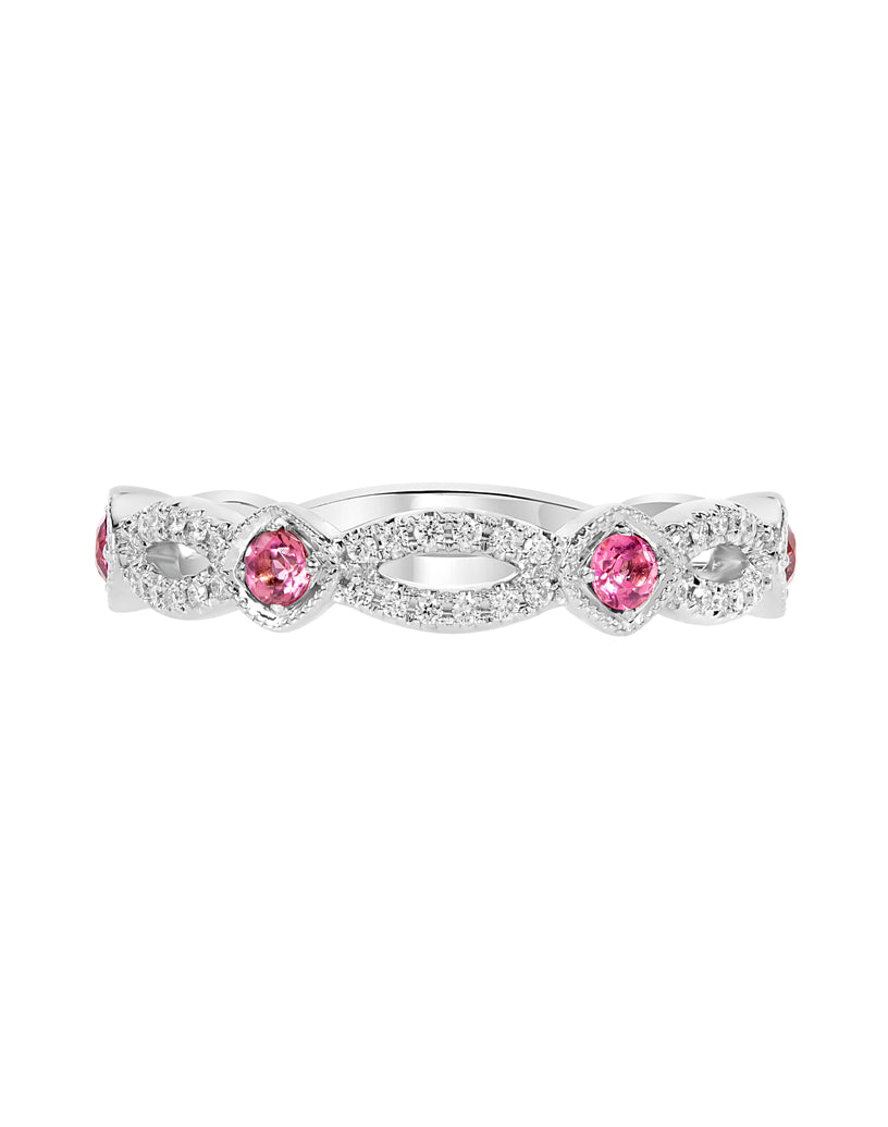 Stackable 14K White Gold and Diamond with Pink Tourmaline Infinity Wedding Band