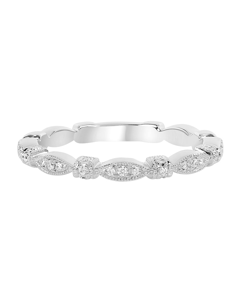 Stackable 14K White Gold and Diamond Wedding Band