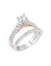 Vintage 14K White with Rose Gold and Diamond Engagement Ring