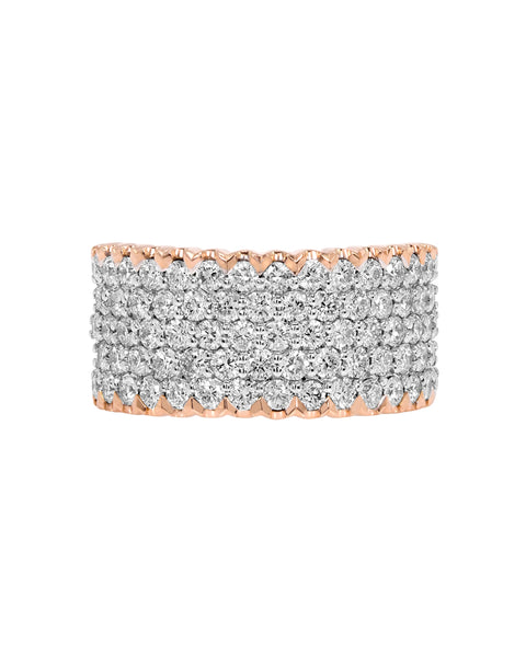 14K White with Rose Gold and Diamond Wedding Band