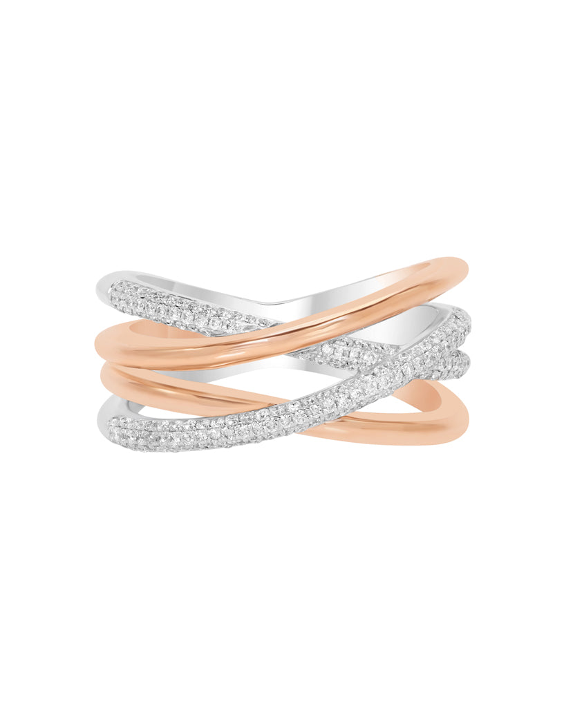 14K White with Rose Gold and Diamond Fashion Band