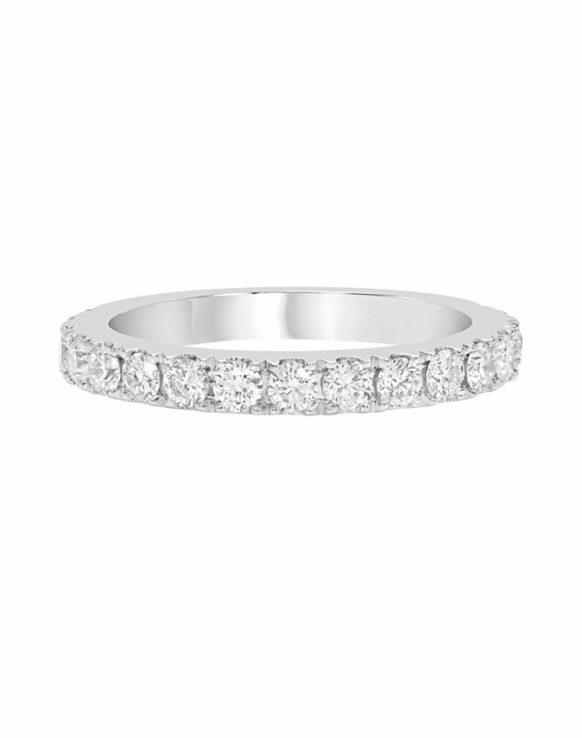 14K White Gold and Diamond 4-Prong Wedding Band