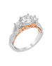3 Stone 14K White with Rose Gold and Diamond Infinity Engagement Ring