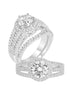 14K White Gold and Round Halo Diamond Split Shank Engagement Ring