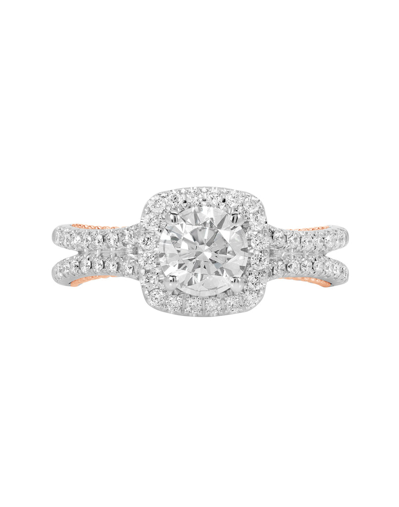 14K White with Rose Gold and Cushion Halo Diamond Split Shank Engagement Ring