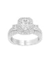 Vintage 3 Stone 14K White Gold and Halo Diamond Engagement Ring